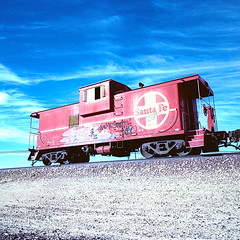 santa fe caboose. boron, ca. 2011. (eyetwist) Tags: california railroad red sky santafe west 120 6x6 mamiya film clouds analog train mediumformat square 50mm xpro crossprocessed fuji desert crossprocess rail wideangle icon ishootfilm caboose socal american highdesert mojave rails lonely analogue mamiya6 siding curve 50 fujichrome signal derelict e6 hopper mojavedesert boron 58 borax emulsion rfp c41 atsf 2011 primes f4l 50d redcaboose eyetwist ishootfuji 6mf mamiya6mf theicon epsonv750pro recentlyprocessedfilm filmexif filmtagger eyetwistkevinballuff fuji50drfp crossprocessede6toc41 mamiya50mmf4l fujichrome50drfp 999798