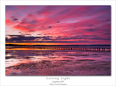 Lasting Light (Mathew Courtney) Tags: pink lake water clouds long jetty nsw tuggerah