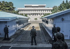 Border South Korea and North Korea (daniel.frauchiger) Tags: soldier army dangerous war military border olympus korea soldiers southkorea dmz northkorea enemies dpr m43 epl1