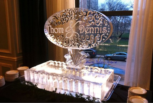 Monogram on Sparkle Seafood Platter Ice Sculpture