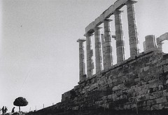 Cape Sounio (βιβιο) Tags: light sky bw sun white black tree blackwhite ancient hellas greece 400 cape analogue expired ilford yashica sounio capesounio