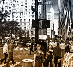 """Lost in New York"" (Pensioner Percy) Tags: usa newyork broadway streetlife wallstreet usavacation poarcadia blacksepia nikon18105mmlens nikond5100"