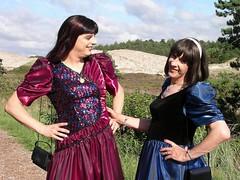 Sequins (Paula Satijn) Tags: blue red summer sun girl lady outside shiny dress heather dunes silk skirt tgirl gown satin gurl cocktaildress ballgown