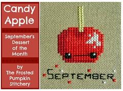 candy apple (stitchy stitcherson) Tags: cute apple dessert crossstitch needlework handmade embroidery september treat candyapple dessertofthemonthclub thefrostedpumpkinstichery