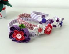 Tiara Tecido e Flores de Fuxico (Darte Produtos Artesanais) Tags: tiara flores fuxico arco tecido forrada