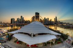 Summer Nights at Navy Pier (Brian Koprowski) Tags: city carnival sunset chicago building skyline evening illinois aqua downtown skyscrapers pentax dusk tourist lakemichigan fisheye ferriswheel navypier hancock aon hdr attraction pentaxk5 briankoprowski bkoprowski