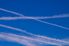 Busy Skys (jf01350) Tags: blue sky plane contrail aircraft air trails aeroplane trail contrails skys