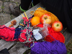 Pic Knit (birdlouise) Tags: travel two art film wool public buses wales project still friend knitting craft photograph journey artists ceredigion tregaron