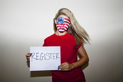 Register to VOTE! (Kristin-Sanderson) Tags: blue ladies girls red white signs portraits canon hair clothing wind flag flash right womens your american rights editorial 5d register females facepaint vote markii