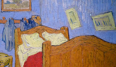 Van Gogh, The Bedroom, detail with paintings
