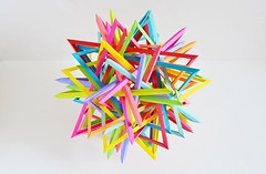 Thirty Interlocking Triangles (Byriah Loper) (Byriah Loper) Tags: paper compound triangle origami modular complex polygon paperfolding wireframe interlocking polyhedron origamimodular modularorigami icosahedral byriah byriahloper 30triangles
