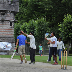 Fair Play (chando*) Tags: batsman brussels bruxelles carr cricket fairplay gens guichet parcducinquantenaire people sikh square streetphotography wicket