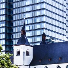 Old vs. New (-DerFranke-) Tags: canon eos6d eos 6d ef 24105 f4 l ef24105f4l germany deutschland kln cologne kirche church hochhaus modern square format lanxess deutz brohochhaus office tower architektur architecture