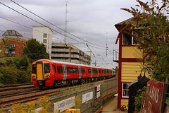 Signalbox Garden at St Albans (Chris Baines) Tags: st albans south preserved signalbox class 387 gatwick express livery