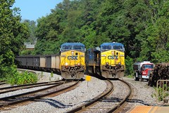 Seeing Double (Trains & Trails) Tags: csx coal train ge widecab yn2 brightfuture generalelectric 422 476 engine locomotive diesel transportation connellsville pennsylvania fayettecounty refueling e622 n788 ac44cw