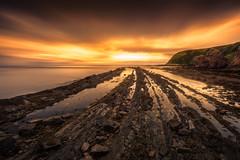 Reaching the Sun (devlin11) Tags: cove scotland sunrise exposure eastcoast scenery seaside sky sea seascape coast clouds morning rocks tranquil nikon