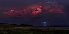 Solar Power - An Alternate Outlet (J Swanstrom (Check out my albums)) Tags: jswanstromphotography nikon d750 clouds sky sunset light red pink purple lightning storm thunderstorm southdakota pickerellake evening field prairie grass weather wow bolt serene