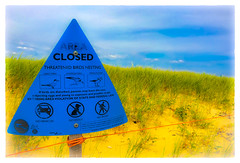 Area Closed (Timothy Valentine) Tags: 0716 friday 2016 beach sign fence sandwich massachusetts unitedstates us