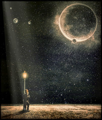 The Sound Of Silence (clabudak) Tags: moon space universe man light streetlight planets surreal ~themagicofcolours~xi lamppost stars