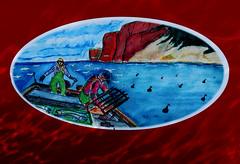 Lovely painting on the bow of a fishing vessel in the harbor of Saint-Georges-de-Malbaie, Qubec (Ullysses) Tags: saintgeorgesdemalbaie gaspesie qubec canada summer t painting artwork fishingvessel bateaudepeche fishingharbor havredepeche lestroissoeurs bow thethreesisters