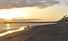 Sunset at the beach (Nige H (Thanks for 6.5m views)) Tags: nature sunset sand sea seascape costaadeje playa playadelduque delduquebeach tenerife girl girlonabeach sky cloud sundown beach landscape
