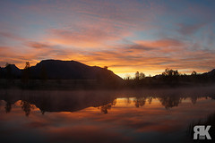 Quarry Lake Sunrise (ryan.kole32) Tags: canmore canmorealberta alberta canada canadianrockies rockies rockymountains landscape nature beauty beautyinnature travel outdoors hiking sunrise quarry quarrylake mirrorimage reflection orange red clouds morning bluesky mist misty colorful colourful sony sonya77 calm peaceful serene
