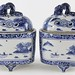 182. Pair of Asian Blue & White Lidded Censers