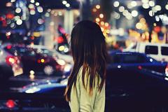 (Amanda Mabel) Tags: road street city winter portrait storm cars girl rain night hair lights colours bokeh vehicles faceless brunette amandamabel