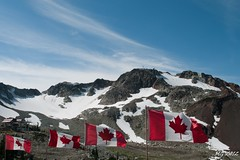Whistler Peak (Michael Garson) Tags: cloud snow canada mountains nature clouds nikon natural walk flag hike backpacking backpack wilderness rugged canadaflag