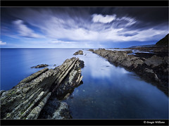 Cove (but don't tell anyone!) (Dougie Williams) Tags: longexposure blue beach rock landscape scotland landscapes cove horizon lee isle stopper eastlothian longexposures torness bythesea explored thorntonloch nd10stop leebigstopper landscapephotographymagazine musselburghcameraclub