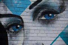 Only Eyes For You (Roblawol) Tags: street nyc newyorkcity blue white streetart ny newyork art nose graffiti eyes paint eyelashes head queens astoria spraypaint seductive skyblue thebigapple theconcretejungle
