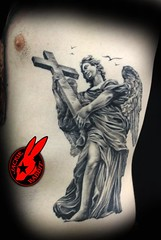 Angel tattoo by Jackie Rabbit (Jackie rabbit Tattoos) Tags: city portrait tattoo angel star virginia cool colorful good awesome great roanoke va jackierabbit