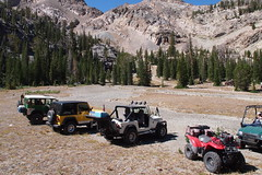 At the Boulder City mine. (Nick / KC7CBF) Tags: 2001 white mountain mountains green yellow creek jeep offroad 4x4 boulder basin idaho toyota land yj landcruiser cruiser tj wrangler