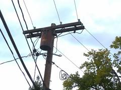 4kv oldie (en tee gee) Tags: old transformer massachusetts pole insulators 4kv