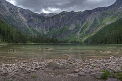 Avalanche Lake (dbushue) Tags: lake mountains nikon montana rocks overcast waterfalls glaciernationalpark 2012 avalanche gnp avalanchelake coth supershot absolutelystunningscapes d7000 damniwishidtakenthat coth5 dailynaturetnc12 tpslandscape