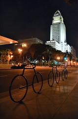 City Hall (jpellgen) Tags: california park summer bike night lights la losangeles nikon downtown cityhall september bicycles tamron westcoast dtla 2012 caltrans 18200mm d3100