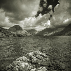 Wastwater, Cumbria, England (violinconcertono3) Tags: england blackandwhite white lake black mountains water beautiful landscapes blackwhite rocks flickr unitedkingdom district fineart cityscapes cumbria wastwater fineartphotography davidhenderson fineartphotographer londonphotographer 19sixty3 19sixty3com