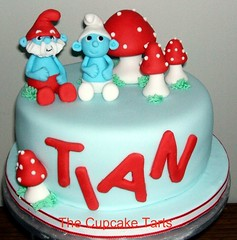 SMURFS! (The Cupcake Tarts (previously Tutta Bella)) Tags: grass cake southafrica handmade smurfs toadstools 2ndbirthday westerncape somersetwest papasmurf fondand thecupcaketarts