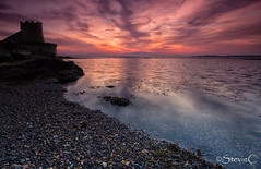 Twilight Tower (StevieC-Photography) Tags: sunset sea cloud reflection outdoors scotland twilight published tranquilscene steviec