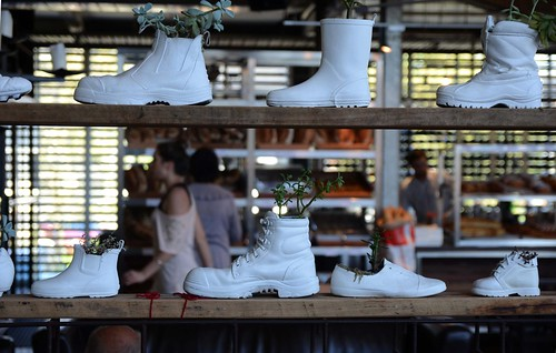 white boot shoe interior healesville winery pot vic decor planter reuse recyling giantsteps innocentbystander healesvillevic giantstepsinnocentbystanderwinery