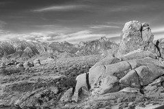 The Hills (gpa.1001) Tags: california owensvalley easternsierras lonepine alabamahills rocks clouds hdr blackandwhite bw