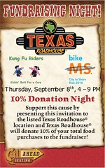 Do you like food? Do you like helping a great cause? Great, because now you can do both! The Kung Fu Riders (aka me and Judith A. Smolenski) are hosting a fundraiser at the Texas Roadhouse in Montgomeryville. Proceeds benefit the National Multiple Scleros (bcaccava) Tags: august 09 2016 1002am do you like food helping great cause because now can both the kung fu riders aka me judith a smolenski hosting fundraiser texas roadhouse montgomeryville proceeds benefit national multiple sclerosis society check link comments for more information