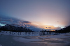 Quarry Lake Sunrise (ryan.kole32) Tags: canmore canmorealberta alberta canada canadianrockies rockies rockymountains landscape nature beauty beautyinnature travel outdoors hiking sony sonya77 sunrise red orange purple quarry quarrylake winter ice frozen calm peaceful serene serenity clouds naturallight