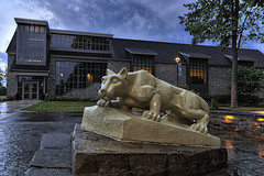 The Nittany Lion, 2016.07.31 (Aaron Glenn Campbell) Tags: psuwb pennstate wilkesbarre campus grounds architecture academiccommons nittanylion statue lehman backmountain luzernecounty nepa pennsylvania sky clouds evening outdoors rural country dramatic moody hdr 2ev macphun aurorahdrpro sony a6000 ilce6000 sonyalpha6000 mirrorless sigma 19mmf28exdn primelens emount