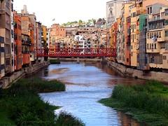 The Eiffel Bridge over the Onyar River in Girona (jackfre 2) Tags: catalunya spain girona bridge metalbridge eiffelbridge redbridge gustaveeiffel