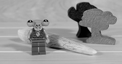 The Alien has found something to send to the Mother Ship for DNA testing (Busted.Knuckles) Tags: home toy lego miniature alien antler bw pentaxk3 camerautility5