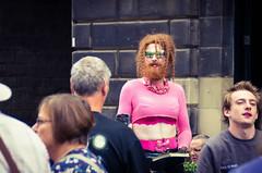Pink and reflective (elizunseelie) Tags: edinburgh fringe edfringe scotland city old town royal mile people portraits performer theatre arts culture street
