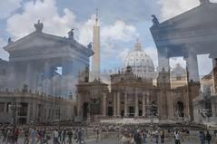 Rome (Minari Fabio) Tags: turisti san pietro st peter mixed double exposition doppia esposizione light italy roma piazza square visions
