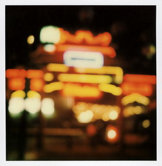 Chinatown Gateway Neon (tobysx70) Tags: the impossible project tip polaroid sx70 instant color film for type cameras impossaroid old chinatown plaza gateway hill street dtla downtown los angeles la california ca neon sign lit illuminated night nocturnal out of focus oof boken blur toby hancock photography