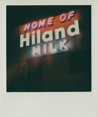 Hiland Dairy (DavidVonk) Tags: vintage instant film analog polaroid sx70 sonar impossibleproject roberts hiland dairy milk omaha neon sign factory